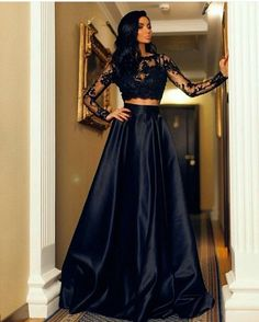 Fashion Black Lace Long Sleeve Prom Dresses, Two Piece Prom Dresses, Floor Length Formal Dresses, A Line Satin Long Evening Dress, Party Dresses, Prom Dress for Teens