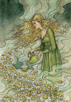 Chamomile tea by Latvian artist liga-marta.deviantart.com on @DeviantArt #Art #illustration