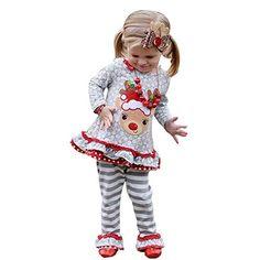 Christmas Girls Outfits,Fineser Stylish Baby Girls Deer Dresses+Plaid Pants+Scarf Christmas Xmas Toddler Kids Clothing Set