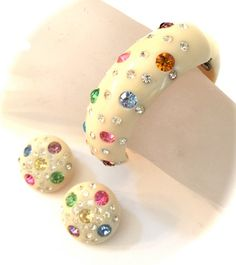 Weiss Celluloid Clamper Bracelet and Earring by Vintageimagine