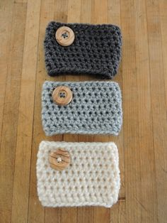 """""""Crochet Coffee Cozies are your perfect beverage companion! Not only will they work great for warm beverages, but cold drinks as well! The cozies are worked continuously in the round and make up very quickly! Great for last minute gifts!"""""""