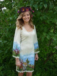 Women dress Knit dress Dress pattern Felt dress by ViktoriyaSK
