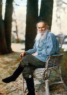 A full-color photo of Leo Tolstoy taken on May 23, 1908 at his residence at Yasnaya Polyana. This is said to be the first color portrait taken in Russia, and the only one of him in existence.