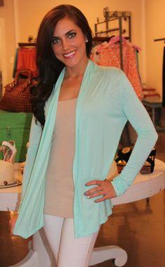 Dottie Couture Boutique - Mint Knit Cardigan, $34.00 (http://www.dottiecouture.com/mint-knit-cardigan/)