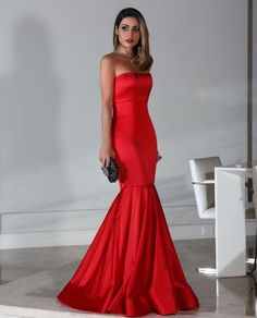 vestido de festa sereia vermelho