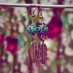 Beautiful carved turquoise earrings only $19.99 on Etsy :)