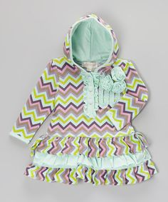 Another great find on #zulily! Mint & Pink Zigzag Ruffle Hooded Dress - Infant, Toddler & Girls #zulilyfinds