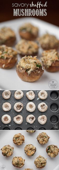 Savory Stuffed Mushrooms, filled with a warm flavorful garlic and cheese mixture, are bite sized appetizers that will please everyone at your dinner party.