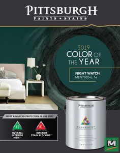 The Pittsburgh Paints & Stains® 2019 Color of the Year is here! Night Watch is a great accent color to get a calming atmosphere in any room! Kitchen Paint Colors, Bedroom Paint Colors, Exterior Paint Colors, Home Wall Colour, House Colors, Green Colour Palette, Paint Stain, Color Of The Year, Accent Colors