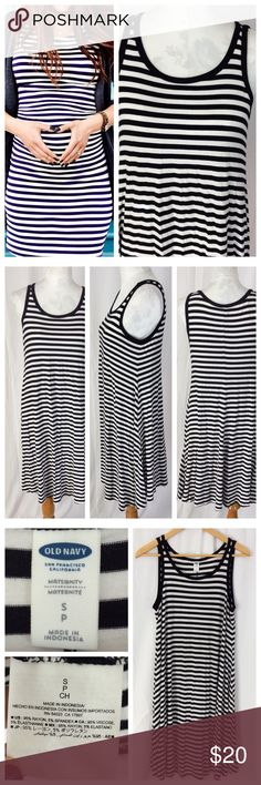 """Striped Tank Dress Super cute maternity dress, perfect for all stages. Black and white stripes, black trim. Easy to wear scoop neck, uber soft Rayon/spandex blend. Size S, 18"""" chest and 39"""" total length. Excellent condition by Old Navy. Old Navy Dresses"""