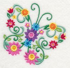 Embroidery Designs at Embroidery Library! - Color Change - -Machine Embroidery Designs at Embroidery Library! Sewing Machine Embroidery, Hand Embroidery Stitches, Free Machine Embroidery Designs, Embroidery Techniques, Border Embroidery Designs, Butterfly Embroidery, Paper Embroidery, Crewel Embroidery, Creative Embroidery