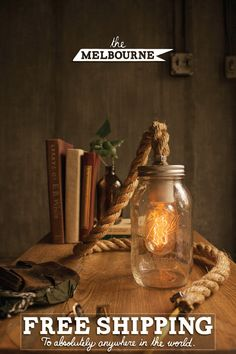Mason Jar Light Rope Lamp Table Lamp Desk Lamp by LukeLampCo, $128.00 | all of his stuff is beautiful! | need to DIY something like this