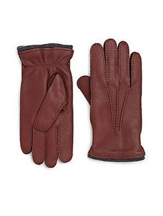 Saks Fifth Avenue Collection Deerskin Leather Gloves - Blue - Size M
