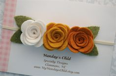 Fall Felt Flower Headband - Felt Garland Headband - Fall Baby Headband - Newborn Headband, Baby Headband, Girls Headband, Toddler Headband by MyMondaysChild on Etsy