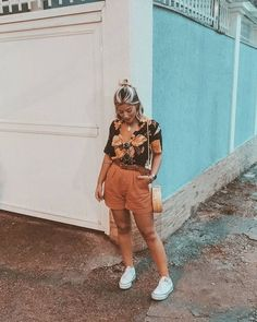 Curvy Girl Outfits, Fresh Outfits, Casual Summer Outfits, New Outfits, Fashion Outfits, Camisa Vintage, Look Con Short, Hipster Looks, Looks Plus Size