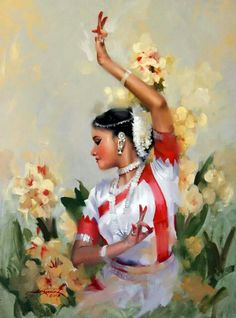 Beautiful Paintings by Artist Joyce Birkenstock. India Painting, Painting Of Girl, Human Painting, Painting Art, Dance Paintings, Indian Art Paintings, Indian Classical Dance, Dance Poses, Dance Art