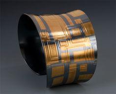 24K gold & oxidized silver grid anticlastic cuff- Keum Boo- Maria Samora