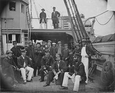 Officers of the gun boat USS Mendota, taken in 1864 while she was serving as a picket ship near Four Mile Creek, on the James River, Virginia. Vintage Wall Art, Vintage Walls, Civil War Books, Civil War Photos, American Civil War, American History, Jpg, Historical Maps, Photo Archive