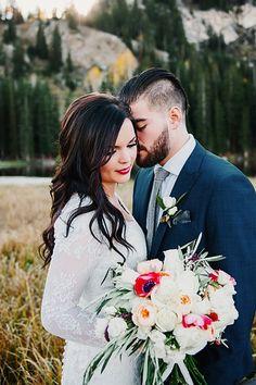 Fall Bridal Portraits in the Utah Mountains | via Mountainside Bride