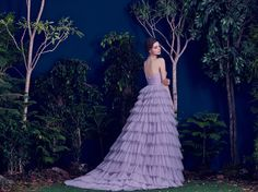 Hamda AlFahim 2016 Ruffled Lavender Plissé Tulle Layered Dress - Back View