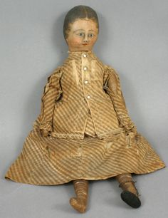 296: 19TH CENTURY HANDPAINTED RAG DOLL : Lot 296