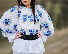 Akord shop - Women's blouse with traditional embroidery cotton Ie, with floral pattern on the chest and sleeves, ha Blouses For Women, Kimono Top, Bell Sleeve Top, Embroidery, Traditional, Unique, Sleeves, Pattern, Cotton