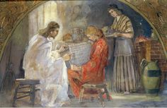 Jesus in the home of Mary and Martha. Painting by Minerva Teichert Images Du Christ, Pictures Of Christ, Bible Pictures, Lds Art, Bible Art, Scripture Study, Bible Scriptures, Mary And Martha Bible, Minerva Teichert