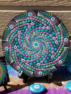 Round Dot Mandala Painting on Wood Spiral Metallic Original