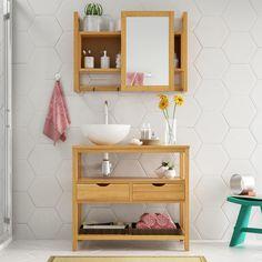 Quer um gabinete diferente e moderno para o seu banheiro? Este modelo está incrível. <3    #decoração #design #madeiramadeira