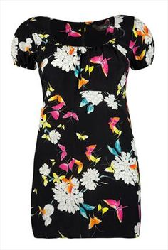 11e1551a9a112 Butterfly print empire line tunic with capped sleeves from Yours clothing  UK Sizes 16 - 32