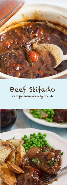 Stifado A classic slow cooked Greek stew packed with lovely Mediterranean flavours. via classic slow cooked Greek stew packed with lovely Mediterranean flavours. Slow Cooker Recipes, Meat Recipes, Dinner Recipes, Cooking Recipes, Healthy Recipes, Beef Stifado Recipes, Recipies, Slow Cooking, Cooking Time