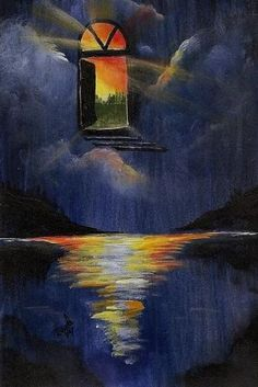 Nfac Oswoa Door Heaven Clouds Water Sky Sunset Art Acrylic Sky Walker Original | eBay