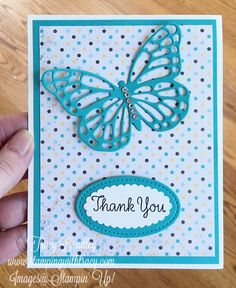More Butterflies and Cupcakes & Carousels - Stamping With Tracy - Butterfly Card by Tracy Bradley featuring Stampin' Up! Handmade Birthday Cards, Happy Birthday Cards, Greeting Cards Handmade, Butterfly Cards Handmade, Handmade Thank You Cards, Thank U Cards, Butterfly Birthday Cards, Embossed Cards, Stamping Up Cards