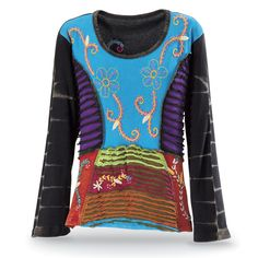 """Nepalese Embroidered Top  Top of the World. Colorful cutwork/patchwork and elaborate embroidery add to the beautiful design of this top, with its round neckline, long sleeves, and slightly flared hem. Embroidered design repeats on the back! 100% cotton. Hand washable. Made in Nepal. Sizes: S (6-8), M (10-12), L (14), XL (16-18), XXL (18W-20W); 23""""-26"""" long."""