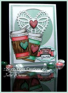 North Coast Creations Stamp sets: Warm My Heart, What's Brewin'? Our Daily Bread Designs Custom Dies: Flourished Star Pattern, Double Stitched Rectangles, Double Stitched Circles, Vintage Labels, Ornate Hearts