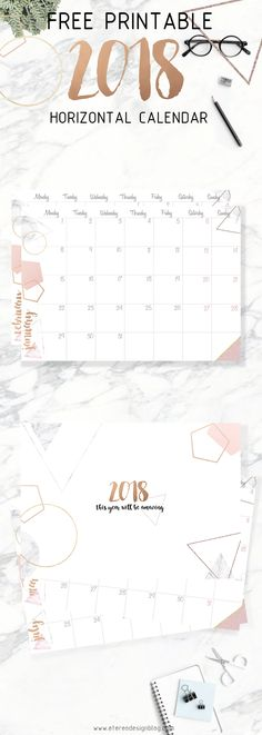 free 2018 printable calendar- gold and pink