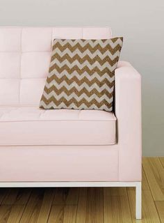 Chevron wall stencil works equally well on furniture and pillows. Also happens to be our FREE stencil for the month of May. :)