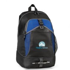 - Sporty and young, this backpack is perfect for the active lifestyle - Padded, adjustable backpack straps - Large main zippered compartment - Front features zippered pocket with organizer, slash pocket with buckle closure and pen loops - Side mesh pocket for accessories - Non-PVC fabric backing - This product is kid-friendly/CPSIA compliant