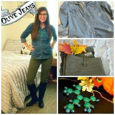 October Fashion Favorites: My Top 3 Go-to Outfits - College Fashion Denim Shirt With Jeans, Denim Top, College Girl Fashion, October Fashion, Olive Jeans, College Outfits, Elegant Dresses, Boho Dress, Shirt Outfit