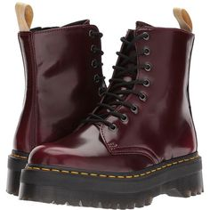 Dr. Martens Vegan Jadon II 8-Eye Boot (Cherry Red Cambridge Brush)... (685 RON) ❤ liked on Polyvore featuring shoes, boots, ankle boots, zip ankle boots, faux-leather boots, bootie boots, two-tone boots and metallic ankle boots