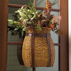 Pack baskets like this were used by early settlers in the Adirondacks to carry game, fish and gathered fruit. Ours has the purely decorative purpose of greeting guests with winter bounty. Fill it with cedar branches, pinecones and berries for a full,...
