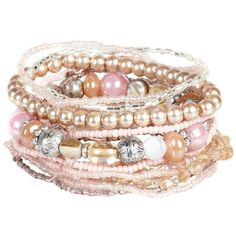 Pink mixed bead bracelet set ($9.48) ❤ liked on Polyvore featuring jewelry, bracelets, accessories, pulseiras, pink, women's jewellery, vicenza jewelry, beaded jewelry, beading jewelry and beaded bangles