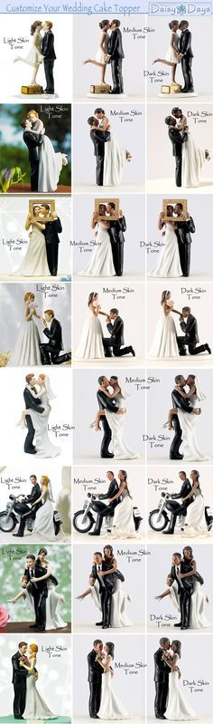 Customize your Wedding Cake Topper to match your skin and hair tone as bride and groom | from www.daisy-days.com