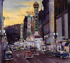 Crusin' Broadway in the Fifties by Mike Hill Mike Hill, Magazine Ads, Times Square, Broadway, Wall Art, History, Painting, Portland, Vintage