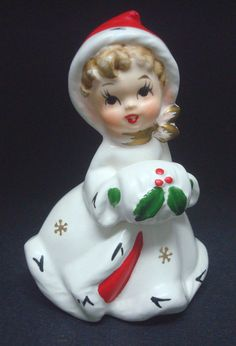 Vintage Napco Christmas Girl with Muff Figurine by MostlyVintage, $14.00