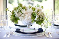 #centerpiece  Photography: Studio 28 Photography - studio28photo.com/  Read More: http://www.stylemepretty.com/2012/01/06/east-coast-prep-shoot-by-studio-28-photo-green-ribbon-party-planning-co/