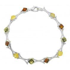 Braceleten Argent 925/1000 et d'ambre naturel multicolore avec des pierres en forme de carré pour un résultat original. Longueur pierre: 0.4 cm x 0.4 cm Circonférence: 18.5 cm Poids approximatif: 9.2 grammes