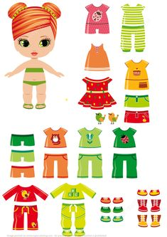 Girl Paper Doll with Summer Clothes Paper crafts Paper Doll Template, Paper Dolls Printable, Felt Dolls, Doll Toys, Rag Dolls, Fabric Dolls, Crochet Dolls, Paper Toys, Paper Crafts