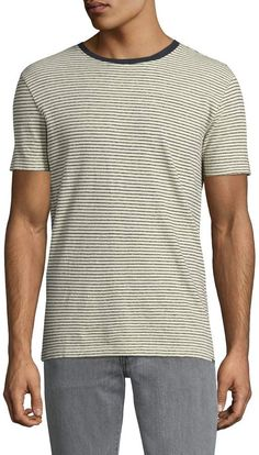 Woolrich Men's Linen Striped T-Shirt