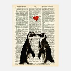Penguin Lovers Print  by Matt Dinniman    $5.50 fab  $ 8 retail price    Love takes center stage with this adorable print. They love each other, and we love them. Printed from an upcycled vintage dictionary, all of CollageOrama's pieces feature their own look since each one is created on a different page. Place this on your wall and it's sure to be love at first sight.    http://fab.com/kw0hna